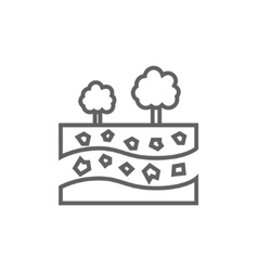 Cut of soil with different layers and trees on top vector image