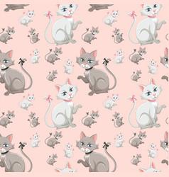 cute kitten seamless pattern vector image