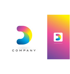 d logo letter with rainbow vibrant beautiful vector image