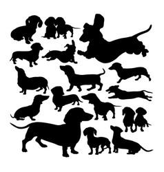 Dachshund dog animal silhouettes vector