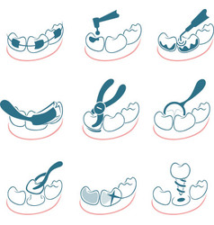 Dental icons set for clinic vector