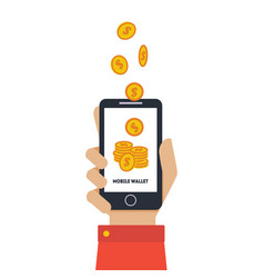digital mobile wallet hand holding smartphone vector image