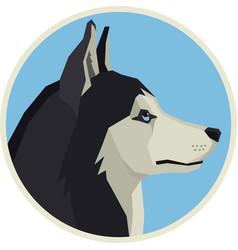 Dogs siberian husky round frame vector