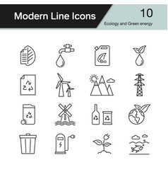 Ecology and green energy icons vector