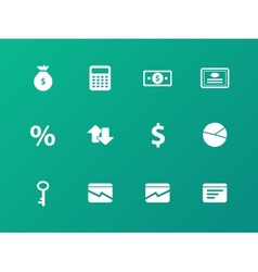Economy icons on green background vector image