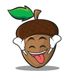 Ecstatic acorn cartoon character style vector