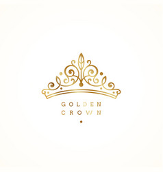elegant golden crown logo on white background vector image