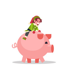 elf boy sitting on pig merry christmas holiday new vector image