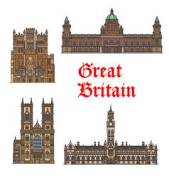 English travel landmark great britain thin icon vector