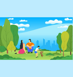 familyrelaxing in city park vector image