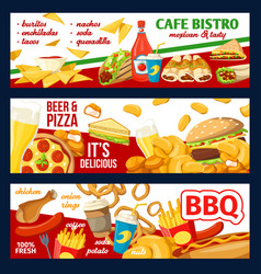 Fast food cafe bistro menu and pizza banners vector