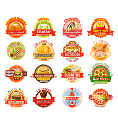Fast food label for american mexican asian cafe vector