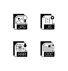 File types black linear icons set vector