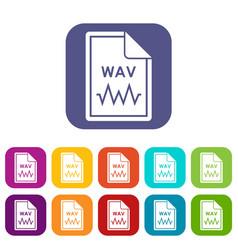 File wav icons set vector