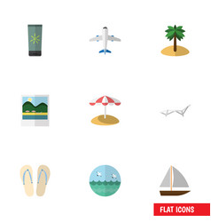 flat icon beach set of yacht coconut ocean and vector image