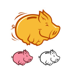 funny running piggy bank vector image