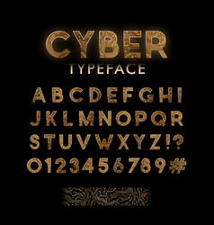 golden circuit board pattern typeface digital vector image