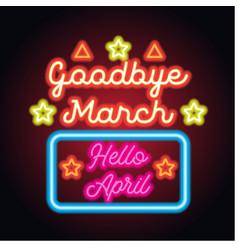 Goodbye march hello april spring text sign vector