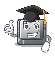 graduation button p in shape mascot vector image