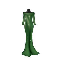 green long silk dress vector image