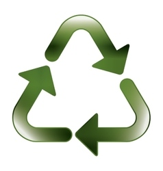 Green recycling symbol shape with relief vector