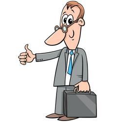 Happy cartoon businessman with briefcase vector