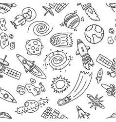 Informative poster space chaos objects seamless vector