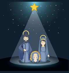 Joseph mary and baby jesus cartoon design vector