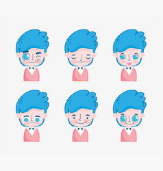 kawaii cartoon faces cute young boy with blue hair vector image