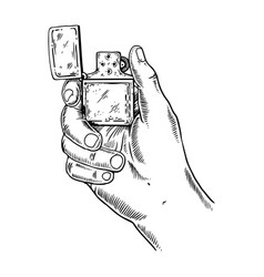 lighter in hand engraving vector image
