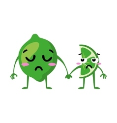 Lime Cute fruit character couple isolated vector
