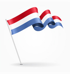 luxembourg pin wavy flag vector image