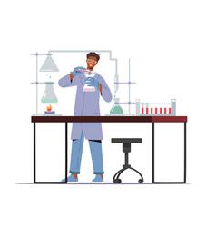 Man scientist wearing lab coat holding beaker vector