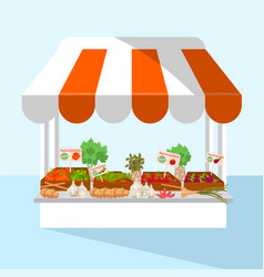 Market stall with fresh vegetables vector