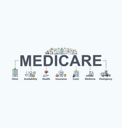 Medicare banner web icon for health care vector