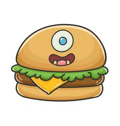 Monster smiling cheese burger cartoon vector