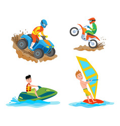 motorbike riding hoband windsurfing people vector image