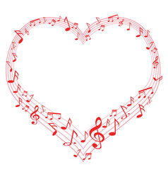 Music of love music notes in heart shape vector