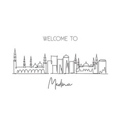 One single line drawing medina city skyline vector