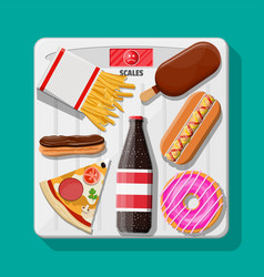 overweight on bathroom scale fast food on floor vector image