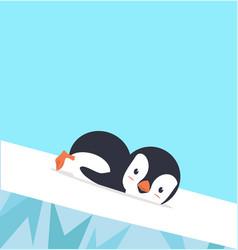 Penguin slide on ice vector