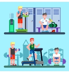 People engaged in the modern gym vector