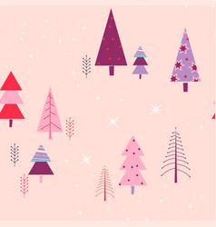 pink forest seamless pattern winter vector image