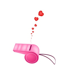 Pink Whistle Blowing Hearts On White Background vector image