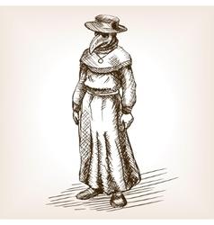 Plague doctor hand drawn sketch vector