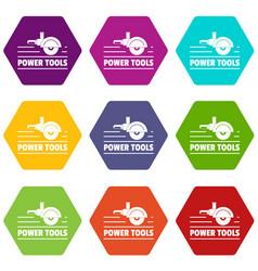 Power tool metal icons set 9 vector