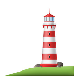 Realistic 3d detailed red lighthouse on shore vector