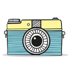 retro camera doodle hand-drawn vector image