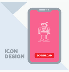 robot android artificial bot technology line icon vector image
