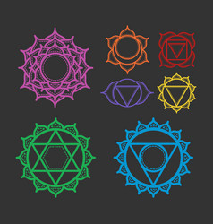Set beautiful indian ornamental 7 chakra vector